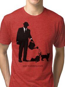 Man Watering Cats Tri-blend T-Shirt