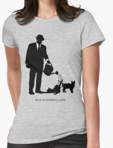 Man Watering Cats Womens Fitted T-Shirt