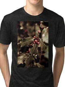 Holly bush with red berries III Tri-blend T-Shirt