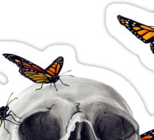 Skull with Monarch Butterflies Sticker