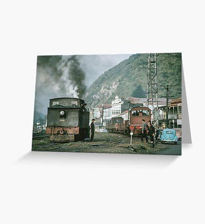 Steam engines Greymouth NZ 19650309 0099  Greeting Card