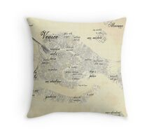 Old Venice Map Throw Pillow