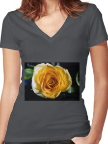 Backlit Yellow Rose Women's Fitted V-Neck T-Shirt