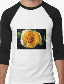 Backlit Yellow Rose Men's Baseball ¾ T-Shirt