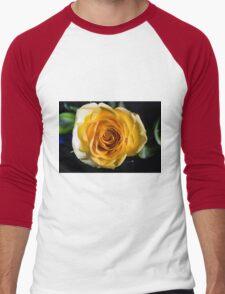 Backlit Yellow Rose Men's Baseball ¾ T-Shirt