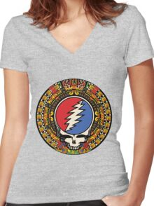 2012 Mayan Steal Your Face - Full Color Women's Fitted V-Neck T-Shirt