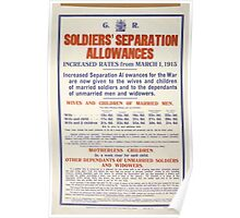 Soldiers separation allowances Increased rates from March 1 1915 284 Poster