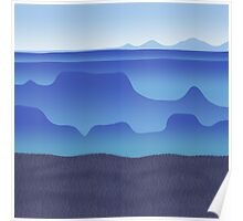 morning fog in the blue desert Poster