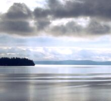 Calm Water Under Cloudy Sky - Puget Sound Sticker