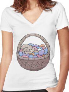 Asleep Amongst the Easter Eggs Women's Fitted V-Neck T-Shirt