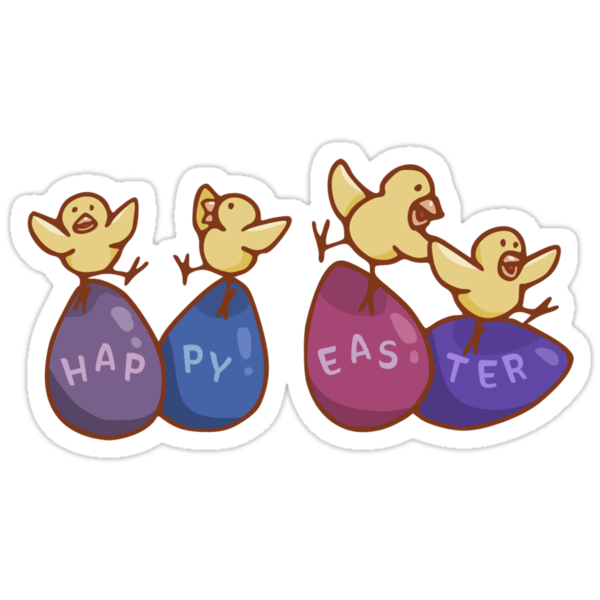 Happy Easter Chicks on Eggs by hybridwing