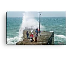 """ Again today 2 hours before high tide, a Dog an a invalid at risk"" Canvas Print"