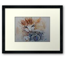 Cat with Photocamera Framed Print
