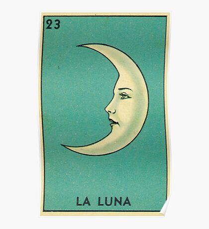 Tarot Card - La Luna - loteria - The moon Poster