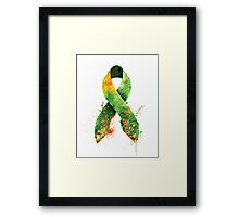 green ribbon Framed Print
