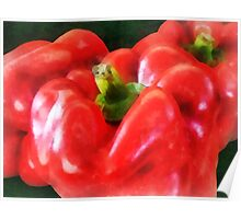 Three Red Peppers Poster
