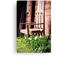 The Bench and Tulips. Canvas Print