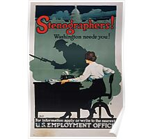 Stenographers! Washington needs you! Poster