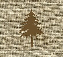 Burlap Inspired Retro Rustic Christmas Tree by CamArtz