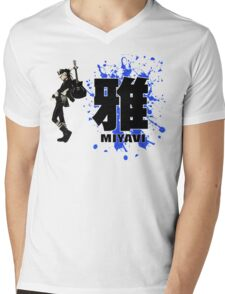 Miyavi Blue Splash Mens V-Neck T-Shirt