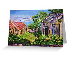 """Derelict Farmhouse and Farm Buildings on the Torr Head Road, County Antrim."" Greeting Card"