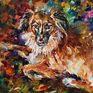 dog - oil on canvas by Leonid Afremov by Leonid  Afremov