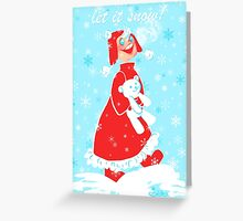 First Snow with Teddy Card Greeting Card