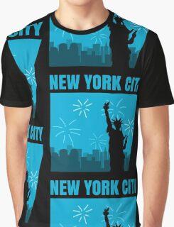 New York City Comic Style Graphic T-Shirt