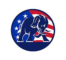 Republican Elephant Mascot USA Flag by patrimonio