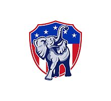 Republican Elephant Mascot USA Flag Shield Photographic Print