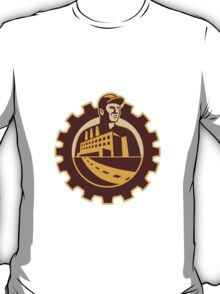 Factory Worker Mechanic With Cog Building T-Shirt