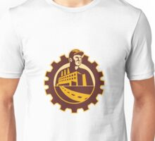 Factory Worker Mechanic With Cog Building Unisex T-Shirt