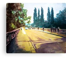 City bridge in spring Canvas Print