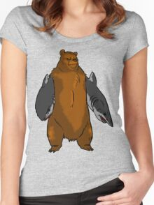 Bear with Shark Arms! - Large Women's Fitted Scoop T-Shirt