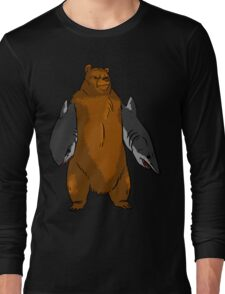 Bear with Shark Arms! - Large Long Sleeve T-Shirt