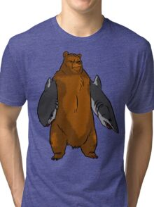 Bear with Shark Arms! - Large Tri-blend T-Shirt