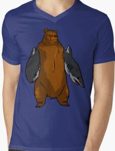 Bear with Shark Arms! - Large Mens V-Neck T-Shirt