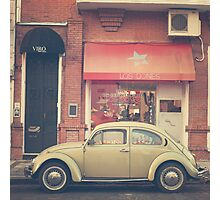 Beige Volkswagen Bug and a lovely Pink Shop (Vintage - Retro Urban Photography) Photographic Print