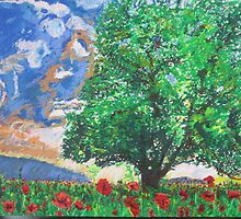 oak tree and poppies by timothy  compton