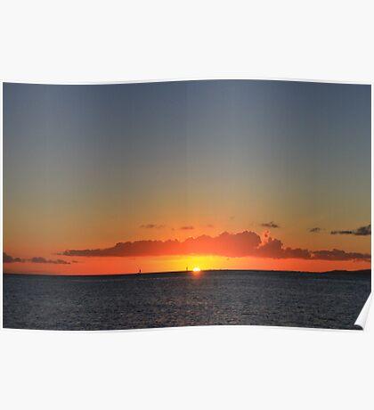 A Waikiki Beach Sunset Poster