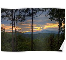 Low Clouds on Cohutta Mountains Poster
