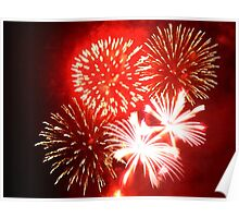 Red and White Fireworks in a Black Sky Poster