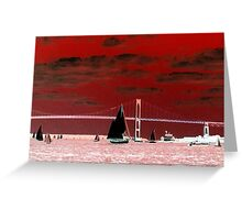 Red Sky Over the Pell Bridge Greeting Card