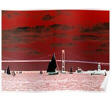 Red Sky Over the Pell Bridge Poster