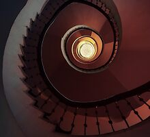 Spiral staircase in red and brown by JBlaminsky