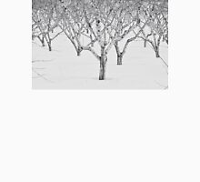 Peach Trees In Snow, Black and White Photo T-Shirt