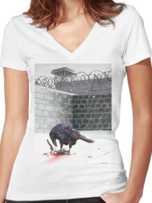 Crow, Bloody Snow Women's Fitted V-Neck T-Shirt
