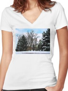 Trees in Snow Women's Fitted V-Neck T-Shirt