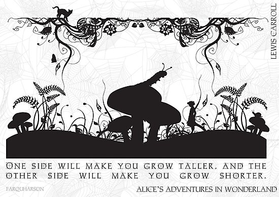 Alice's Adventures in Wonderland Black and White Illustrated Quote by Emily Farquharson
