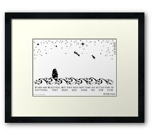Peter Pan Black and White Illustrated Quote Framed Print